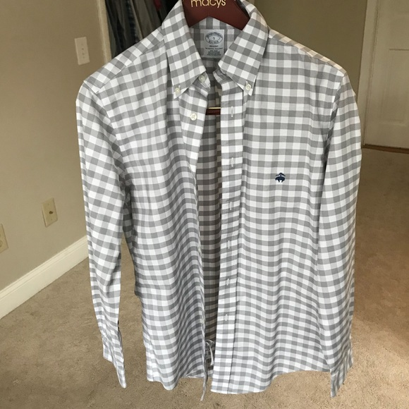 2e739e468f7 Brooks Brothers Other - Brooks Brothers Gray gingham plaid regent fit SM